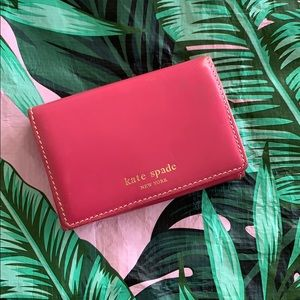 KATE SPADe Pink Leather Credit Card Wallet
